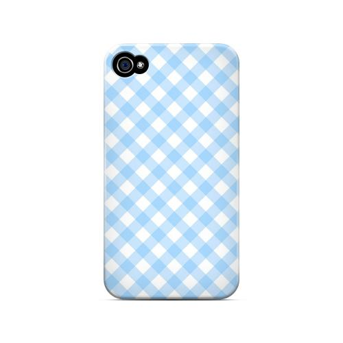 Light Blue Plaid - Geeks Designer Line Checker Series Matte Case for Apple iPhone 4/4S