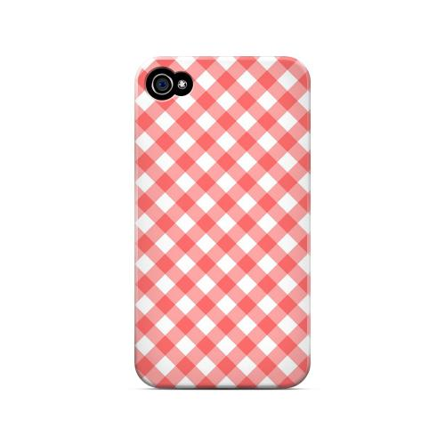 Light Red Plaid - Geeks Designer Line Checker Series Matte Case for Apple iPhone 4/4S