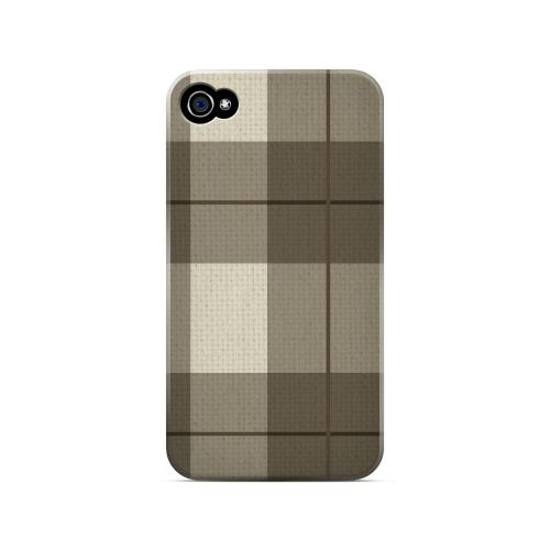 Off-Centered Zoom Brown Plaid - Geeks Designer Line Checker Series Matte Case for Apple iPhone 4/4S