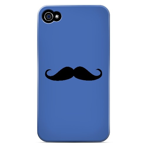 Mustache Blue - Geeks Designer Line Humor Series Matte Case for Apple iPhone 4/4S