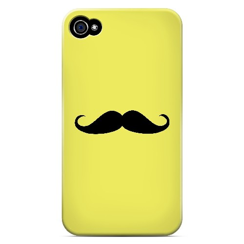 Mustache Yellow - Geeks Designer Line Humor Series Matte Case for Apple iPhone 4/4S