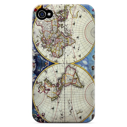 Terrarum Orbis Tabula Pictomap - Geeks Designer Line Map Series Matte Case for Apple iPhone 4/4S