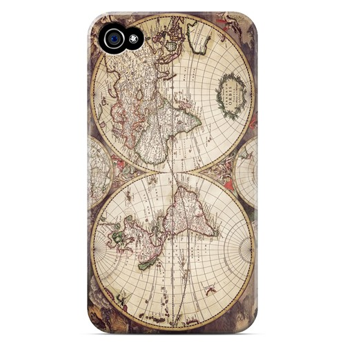 Terrarum Orbis - Geeks Designer Line Map Series Matte Case for Apple iPhone 4/4S