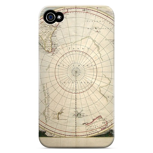 Terra Australis Incognita - Geeks Designer Line Map Series Matte Case for Apple iPhone 4/4S