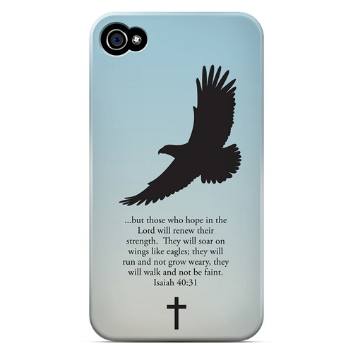 Isaiah 40:31 - Faint Blue - Geeks Designer Line Bible Series Matte Case for Apple iPhone 4/4S