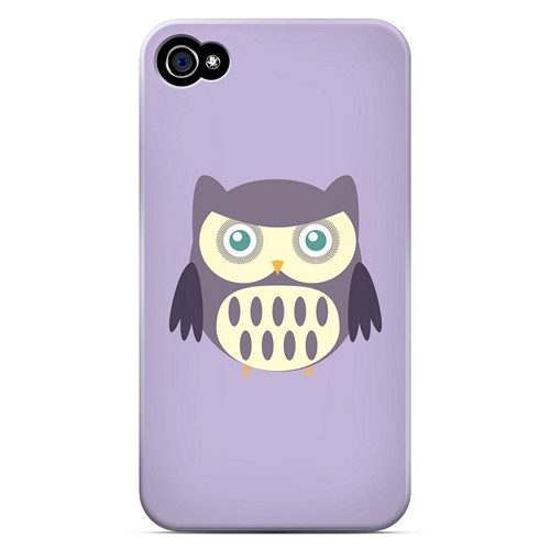 Chubby Purple Owl - Geeks Designer Line Owl Series Matte Case for Apple iPhone 4/4S