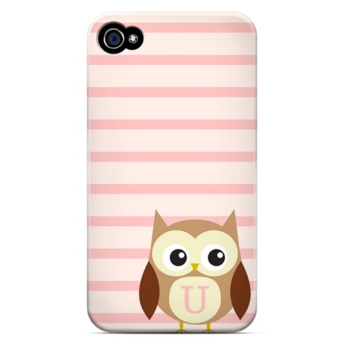 Brown Owl Monogram U on Pink Stripes - Geeks Designer Line Owl Series Matte Case for Apple iPhone 4/4S