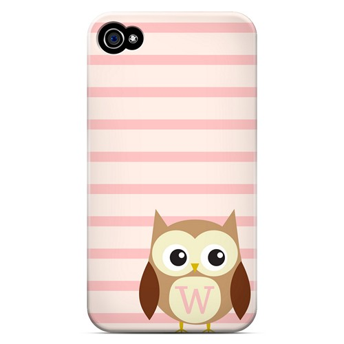 Brown Owl Monogram W on Pink Stripes - Geeks Designer Line Owl Series Matte Case for Apple iPhone 4/4S
