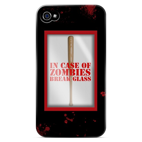 In Case of Zombies Break Glass - Geeks Designer Line Apocalyptic Series Matte Case for Apple iPhone 4/4S