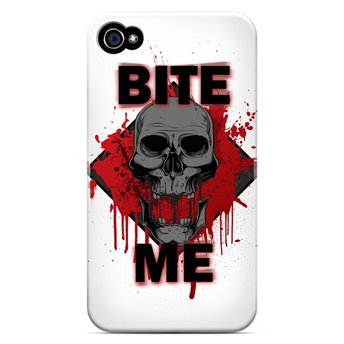 Bite Me on White - Geeks Designer Line Apocalyptic Series Matte Case for Apple iPhone 4/4S