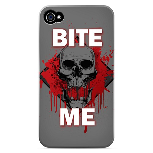 Bite Me on Gray - Geeks Designer Line Apocalyptic Series Matte Case for Apple iPhone 4/4S