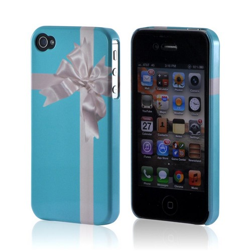 Premium GDL White Turquoise Gift w/ White Satin Bow Plastic Case (Geeks Designer Line) for Apple iPhone 4