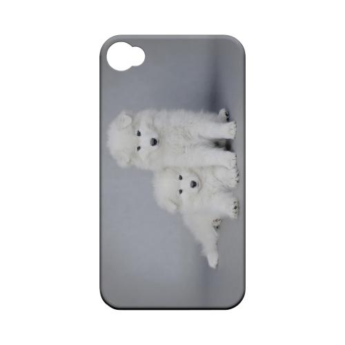 Samoyed Puppies Geeks Designer Line Puppy Series Matte Hard Case for Apple iPhone 4/4S