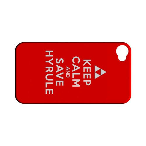 Red Save Hyrule Geeks Designer Line Keep Calm Series Matte Hard Case for Apple iPhone 4/4S