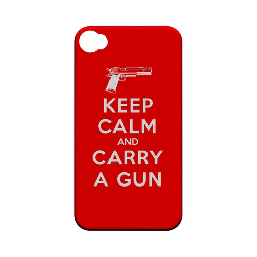 Red Carry A Gun Geeks Designer Line Keep Calm Series Matte Hard Case for Apple iPhone 4/4S