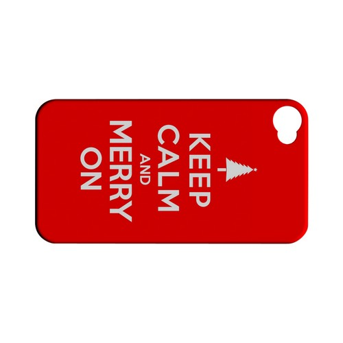 Red Merry On Geeks Designer Line Keep Calm Series Matte Hard Case for Apple iPhone 4/4S