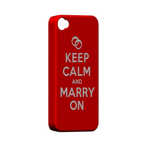 Red Marry On Geeks Designer Line Keep Calm Series Matte Hard Case for Apple iPhone 4/4S