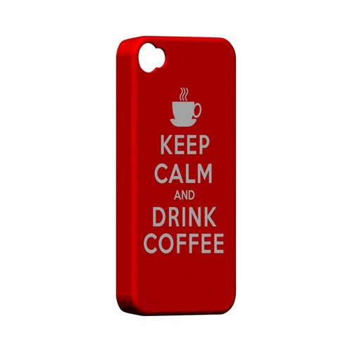 Red Drink Coffee Geeks Designer Line Keep Calm Series Matte Hard Case for Apple iPhone 4/4S