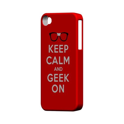 Red Geek On Geeks Designer Line Keep Calm Series Matte Hard Case for Apple iPhone 4/4S