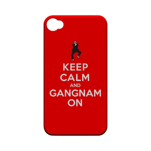 Red Gangnam On Geeks Designer Line Keep Calm Series Matte Hard Case for Apple iPhone 4/4S
