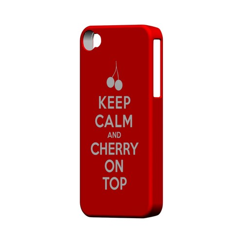 Red Cherry On Top Geeks Designer Line Keep Calm Series Matte Hard Case for Apple iPhone 4/4S