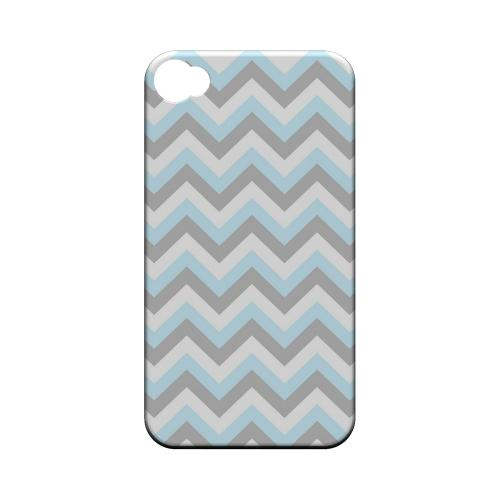 Blue on Gray on White Geeks Designer Line Zig Zag Series Matte Hard Case for Apple iPhone 4/4S