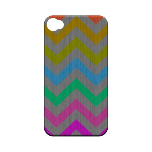 Grungy Multi-Colors on Gray Geeks Designer Line Zig Zag Series Matte Hard Case for Apple iPhone 4/4S