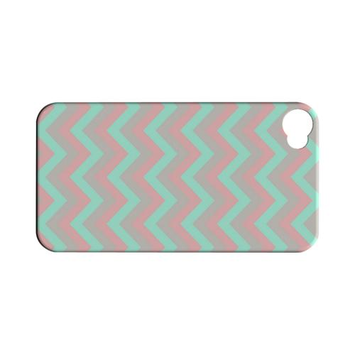 Green on Pink on Gray Geeks Designer Line Zig Zag Series Matte Hard Case for Apple iPhone 4/4S