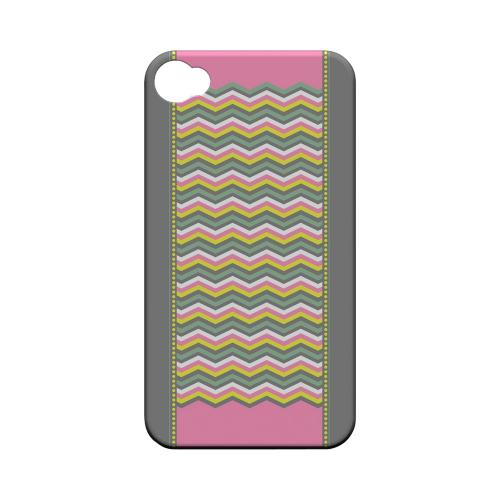 Green/ Yellow Dots w/ Pink & Gray Geeks Designer Line Zig Zag Series Matte Hard Case for Apple iPhone 4/4S