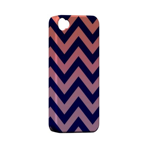 Pink/ Navy Blue Gradient Geeks Designer Line Zig Zag Series Matte Hard Case for Apple iPhone 4/4S