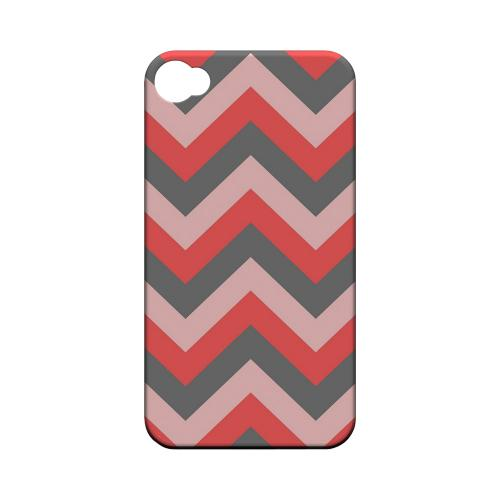 Red on Gray on Pink Geeks Designer Line Zig Zag Series Matte Hard Case for Apple iPhone 4/4S