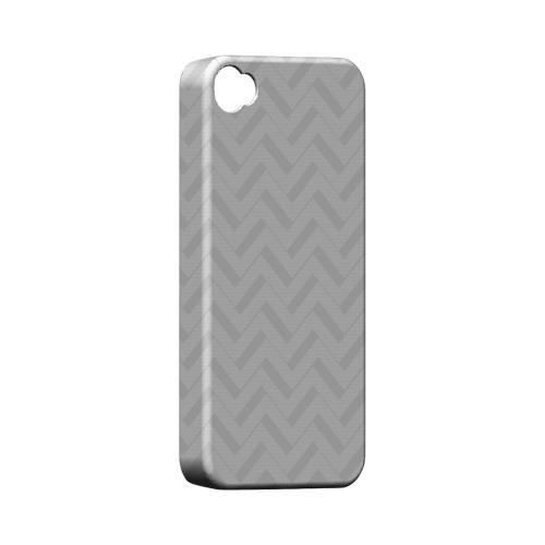 Light Gray/ White 3D Geeks Designer Line Zig Zag Series Matte Hard Case for Apple iPhone 4/4S