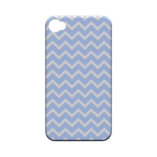 White on Light Blue Geeks Designer Line Zig Zag Series Matte Hard Case for Apple iPhone 4/4S