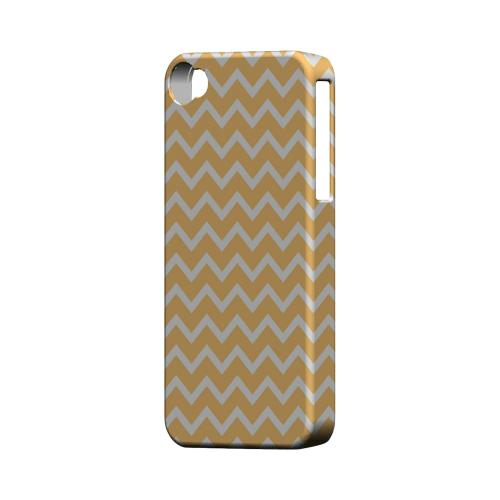White on Light Orange Geeks Designer Line Zig Zag Series Matte Hard Case for Apple iPhone 4/4S
