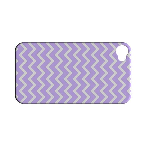 White on Light Purple Geeks Designer Line Zig Zag Series Matte Hard Case for Apple iPhone 4/4S