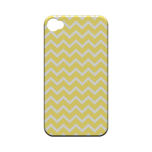 White on Yellow Geeks Designer Line Zig Zag Series Matte Hard Case for Apple iPhone 4/4S