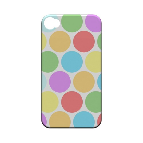 Big & Rainbow on White Geeks Designer Line Polka Dot Series Matte Hard Case for Apple iPhone 4/4S