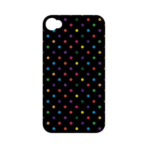 Small & Rainbow on Black Geeks Designer Line Polka Dot Series Matte Hard Case for Apple iPhone 4/4S