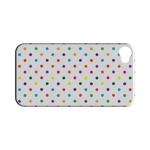 Small & Rainbow on White Geeks Designer Line Polka Dot Series Matte Hard Case for Apple iPhone 4/4S