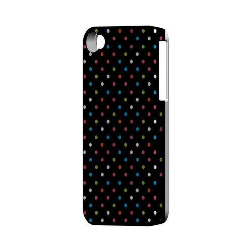 Retro Rainbow Dots on Black Geeks Designer Line Polka Dot Series Matte Hard Case for Apple iPhone 4/4S