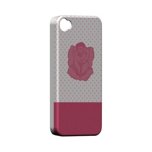 Pink Rose on White Geeks Designer Line Polka Dot Series Matte Hard Case for Apple iPhone 4/4S