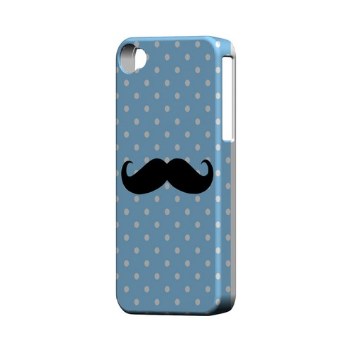 Stache on Sky Blue Geeks Designer Line Polka Dot Series Matte Hard Case for Apple iPhone 4/4S