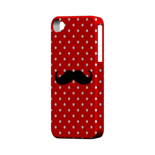 Stache on Red Geeks Designer Line Polka Dot Series Matte Hard Case for Apple iPhone 4/4S