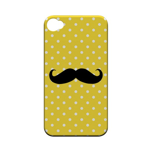 Stache on Yellow Geeks Designer Line Polka Dot Series Matte Hard Case for Apple iPhone 4/4S