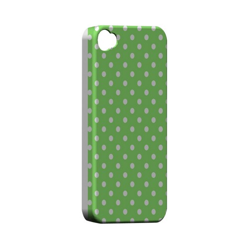 White Dots on Green Geeks Designer Line Polka Dot Series Matte Hard Case for Apple iPhone 4/4S