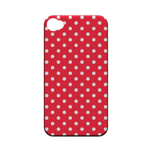 White Dots on Red Geeks Designer Line Polka Dot Series Matte Hard Case for Apple iPhone 4/4S