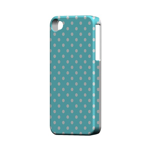 White Dots on Turquoise Geeks Designer Line Polka Dot Series Matte Hard Case for Apple iPhone 4/4S
