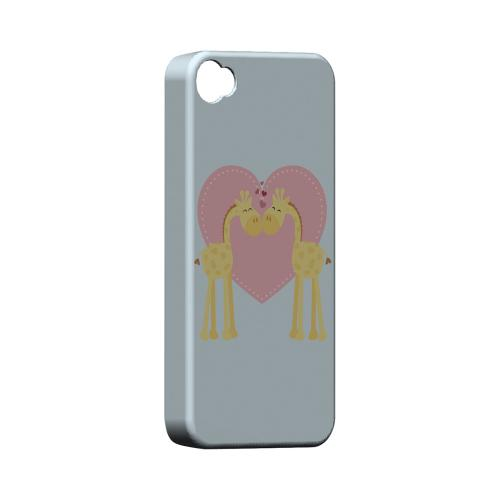 Giraffe Love on Baby Blue Geeks Designer Line Heart Series Matte Hard Case for Apple iPhone 4/4S