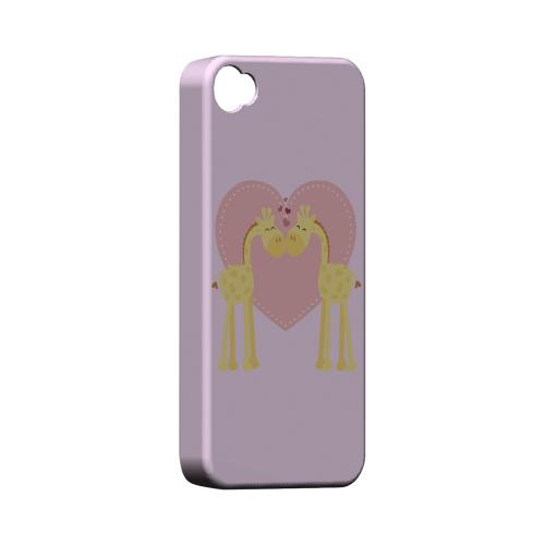 Giraffe Love on Baby Pink Geeks Designer Line Heart Series Matte Hard Case for Apple iPhone 4/4S