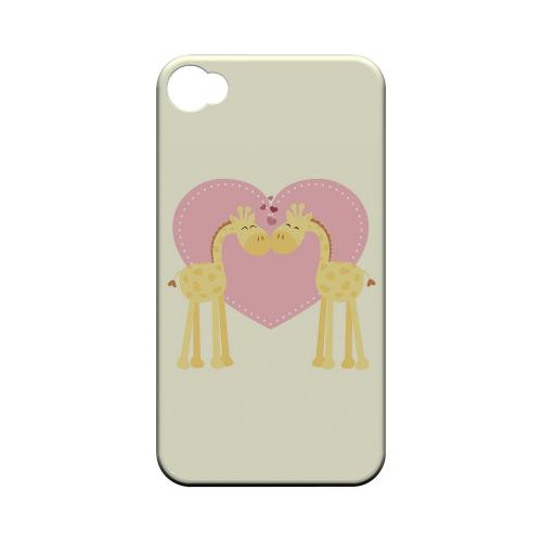 Giraffe Love on Light Yellow Geeks Designer Line Heart Series Matte Hard Case for Apple iPhone 4/4S